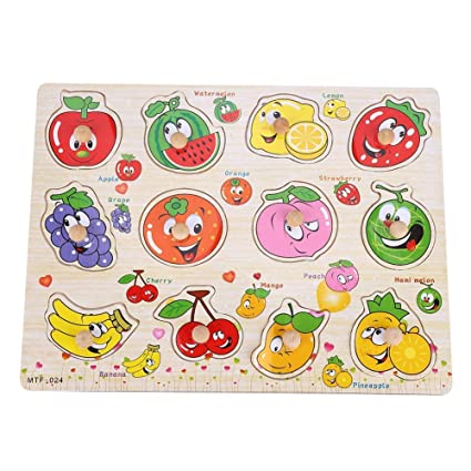 Popsugar Fruits Wooden Puzzles with Knobs for Toddler and Kids   Educational, Shape Sorter, Learn Fruits
