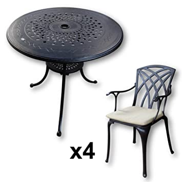 Amazon De Lazy Susan Anna 80 Cm Runder Gartentisch Mit 4 Stuhlen