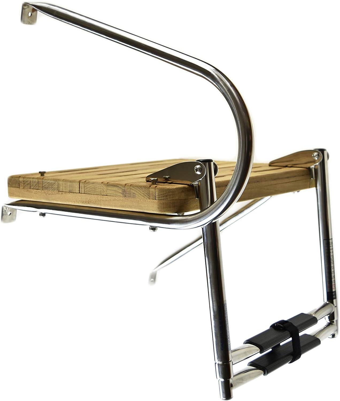 MARINE CITY Stainless Steel Marine 2 Step O//B Swim Teak Platform Ladder