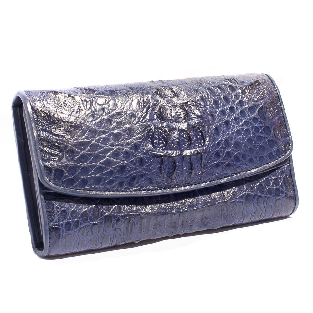 Genuine Caiman Crocodile Hornback Skin Real Leather Clutch Purse Credit Card Holder ID Window Long Wallet by Kanthima (Navy Blue)