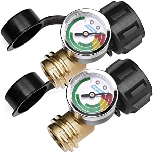 DOZYANT 2 Pack Upgraded Propane Gas Pressure Gauge for 5 to 40lb Propane Tank with Type 1 Connection, Accurate at Different Temperatures, Silver