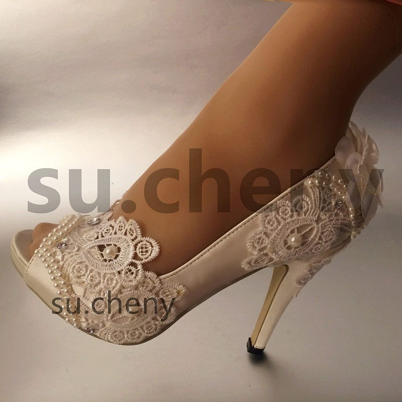 JINGXINSTORE 10/cm//10,2/cm Talon Ivoire Soie en Dentelle Bout Ouvert Perles Chaussures de Mariage Mari/ée Taille 5 11