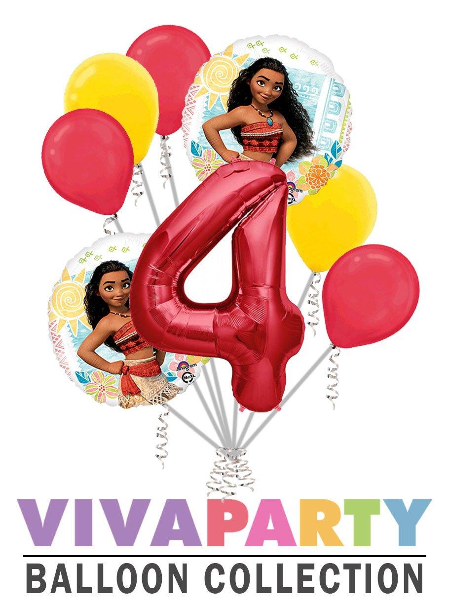 8 pc Moana Balloon Bouquet 4th Birthday Party Decoration Elsa Anna Birthday