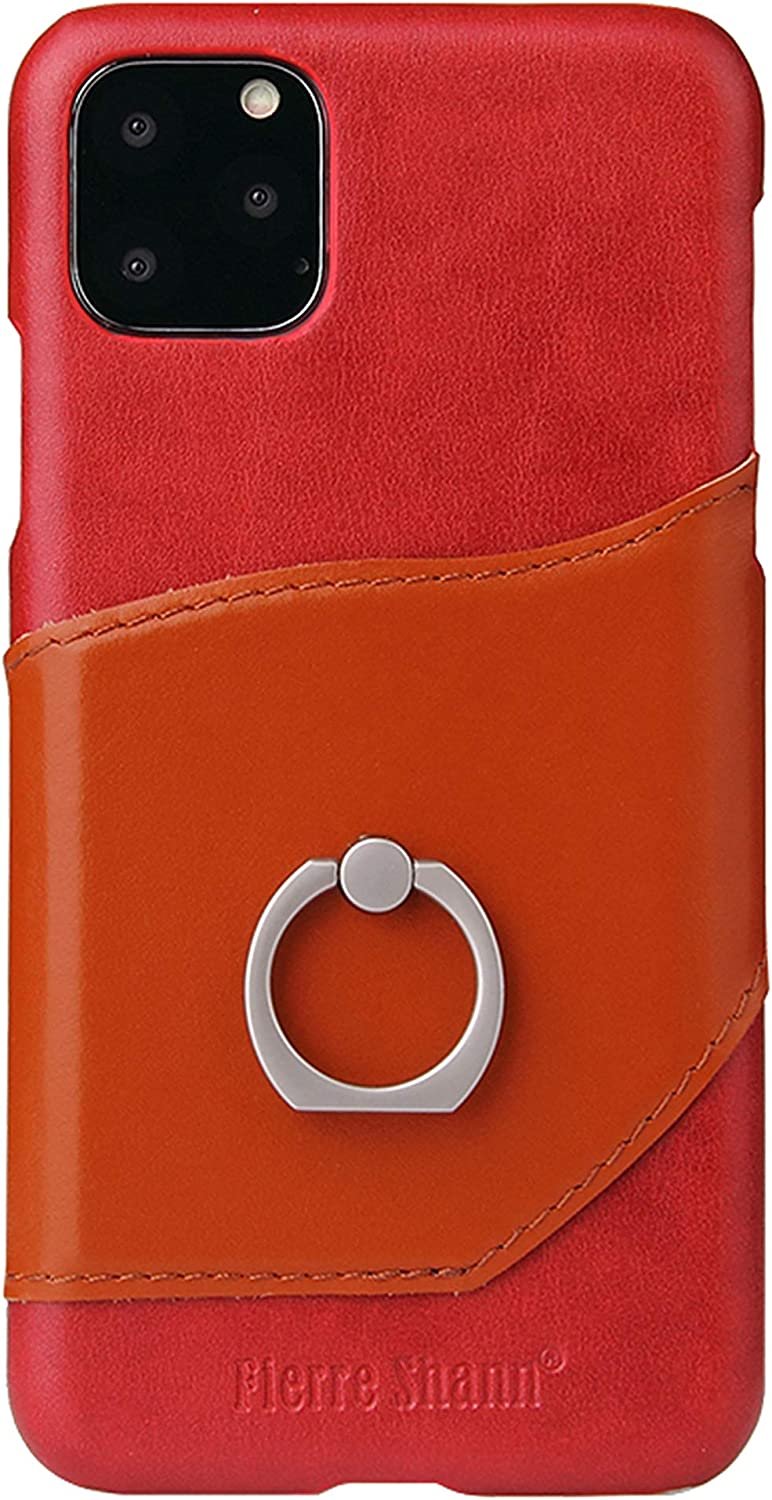 ADRIKO Case for iPhone 11 Pro iRing with Mount Hook Set Cell Phone Grip and Finger Holder for car and Office Ring Stand Accessory Card Slot for iPhone 11 Pro 5.8Inch Red