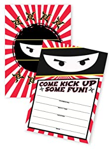 POP parties Ninja 20 Invitations - 20 Invitations + 20 Envelopes - Double Sided - Karate Ninja Party Supplies