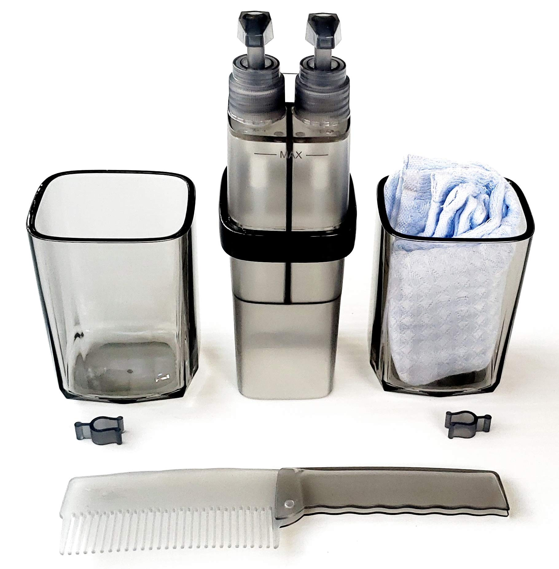 Toothbrush Travel Case BPA Free. Toothbrush holder with 2 cups,1 Bamboo Fiber Face Towel,1 Foldable Comb,1 soap holder pump and 1 lotion holder pump. For Dorm, Home,Travel, Family Vacation and Camping by Liv Free