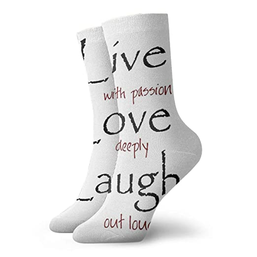 886aae6bed Live Love Laugh Quotes Women s Dress Socks High Graduated Short Hiking Gym  Training Socks 11.8 quot