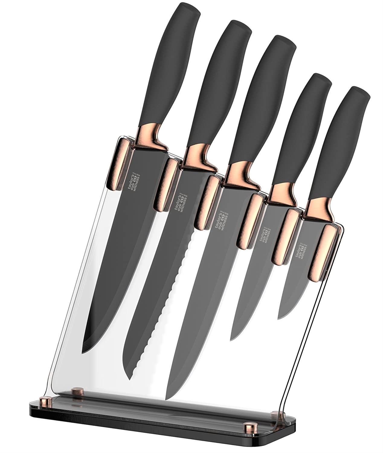 Superbe Taylors Eye Witness Brooklyn Copper 5 Piece Knife Block Set With Sloping  Clear Acrylic Block: Amazon.co.uk: Kitchen U0026 Home