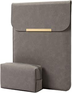 "KALIDI 13.3 inch Laptop Sleeve Case Faux Suede Leather for MacBook Air Pro Retina 2016-2020, for 13""-13.5"" Surface Pro 5 6 7 with Pouch (for 13.3 inches MacBook/Pro/Air, Dark Grey)"