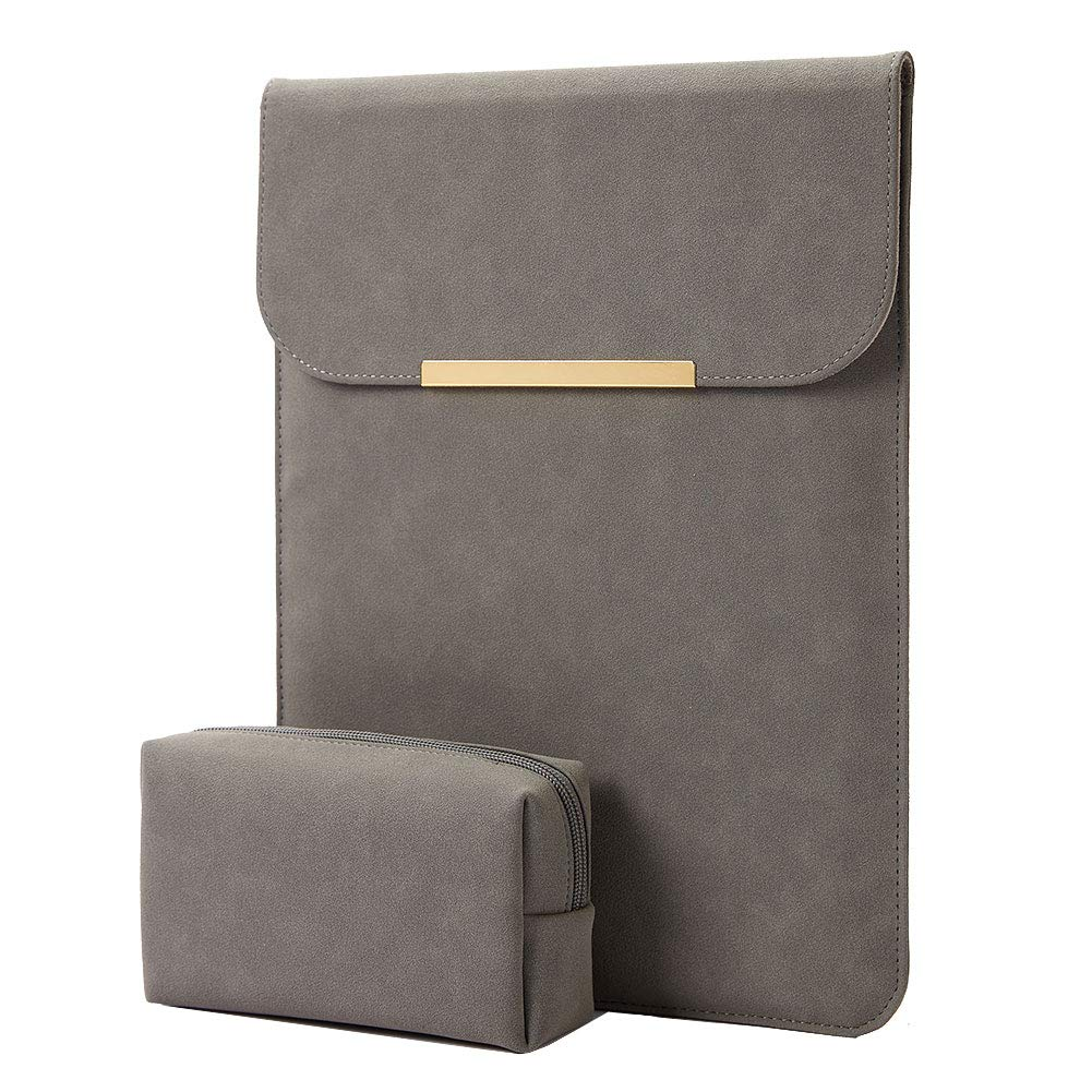 Kalidi Laptop Sleeve 13.3 inch for MacBook Air/13 inch MacBook Pro Retina 2017 2016,Faux Suede Leather ... (MacBook 13-13.5 inches, Dark Grey)