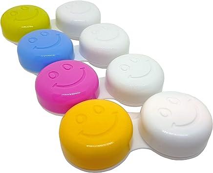 4 x Estuches de Lentes de Contacto ~Clasificados por Color (Carita Feliz/Smile): Amazon.es: Salud y cuidado personal