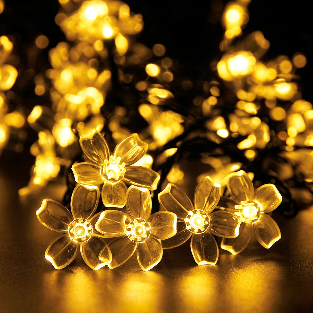 amazon com outdoor solar led string lights addlon garden