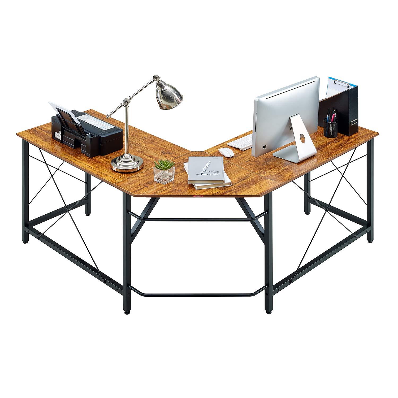 "Mr IRONSTONE L-Shaped Desk Vintage Corner Table Computer Desk 59"" PC Laptop Study Writing Table Workstation for Home Office (Vintage)"