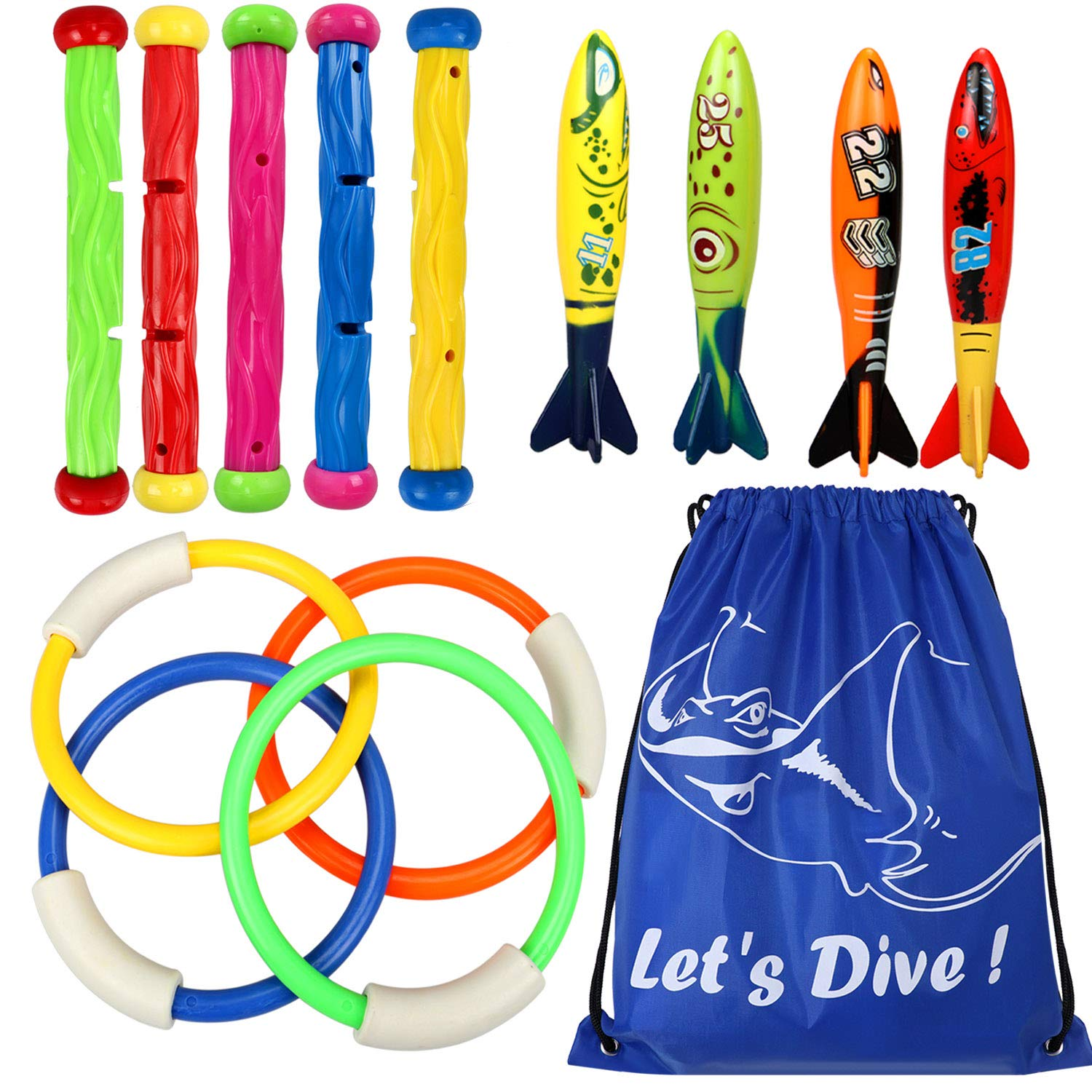 Underwater Swimming Diving Pool Toy Rings 4 pcs, Diving Sticks 5 pcs and Torpedo Bandits 4 pcs Sets Under Water Games Training Gift for Boys Girls by Toyssa