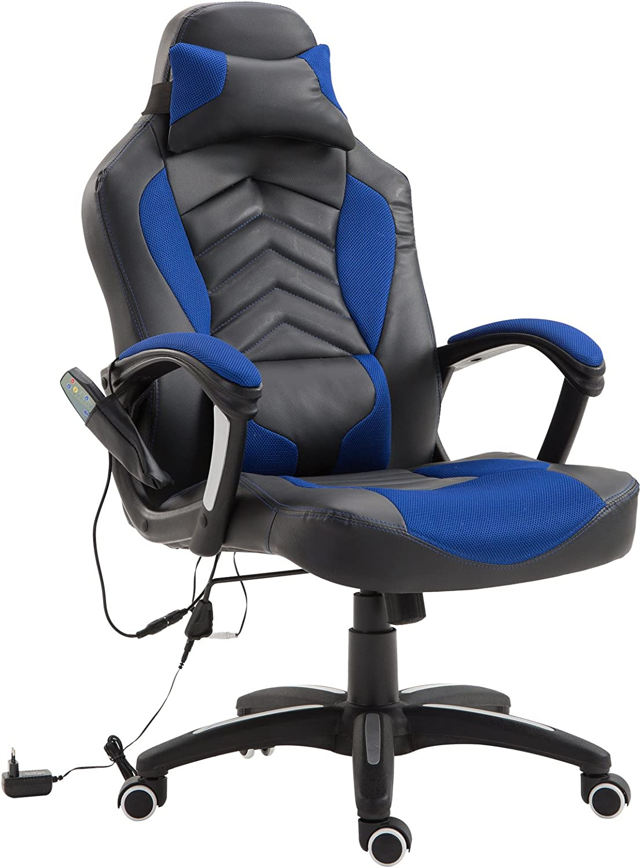 homcom Sedia Poltrona da Ufficio Massaggiante con Riscaldamento Design Ergonomico Reclinabile Ecopelle 68 /× 69 /× 108-117cm Rosso