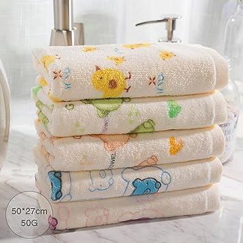 ZLR Toalla sólida de algodón Toalla absorbente suave Toalla pequeña de dibujos animados lindo (Toallas * 5): Amazon.es: Hogar