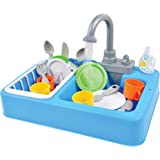 Sunny Days Entertainment Kitchen Sink Play Set with Running Water – 20 Piece Pretend Play Toy for Boys and Girls | Kids Kitchen Role Play Dishwasher Toys