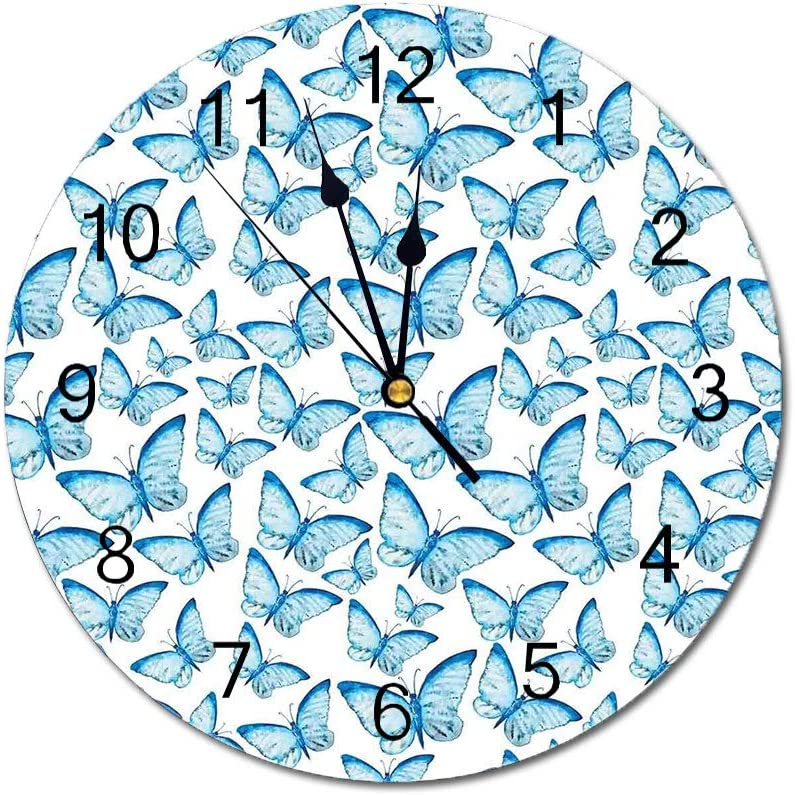 Yeeboo Butterflies Decorations 10 Inch Round Wall Clock,Cute Moths Joy Spiritual Connection Myth Tribal Boho Theme Home Decor Easy Read Clock for Home Office Classroom,White Blue