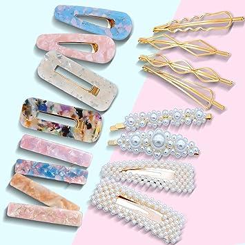 Amazon.com: 16 pasadores de pelo para mujer, perla, resina ...