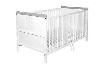 Babybett Kinderbett 140x70 Holz Kiefer Gitterbett weiß grau umbaubar ...