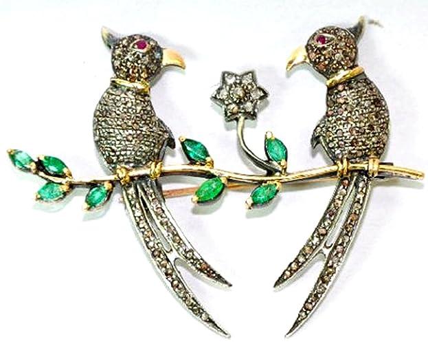 b51aa39117c Amazon.com  Rose Cut Real Diamond Brooch - 925 Sterling Silver Gold Plated  - Vintage Inspire Wedding Party Emerald Men Women Bird Pair Brooch Pin   Handmade