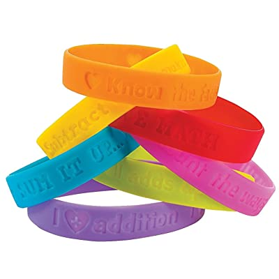 Fun Express I Love Math Rubber Bracelets - 24 Pieces - Educational and Learning Activities for Kids: Toys & Games