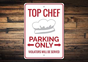 Promini Metal Sign for Wall Decor,Top Chef Sign, Chef Parking Sign, Chef Kitchen Sign, Chef Gift, Chef Decor, Chef Hat Decor, Chef Hat Sign - Quality Aluminum Chef Decoration 12x18 Inches