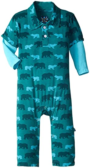 96589b38a1d5 Amazon.com  Kickee Pants Baby Boys  Print Long Sleeve Polo Romper ...