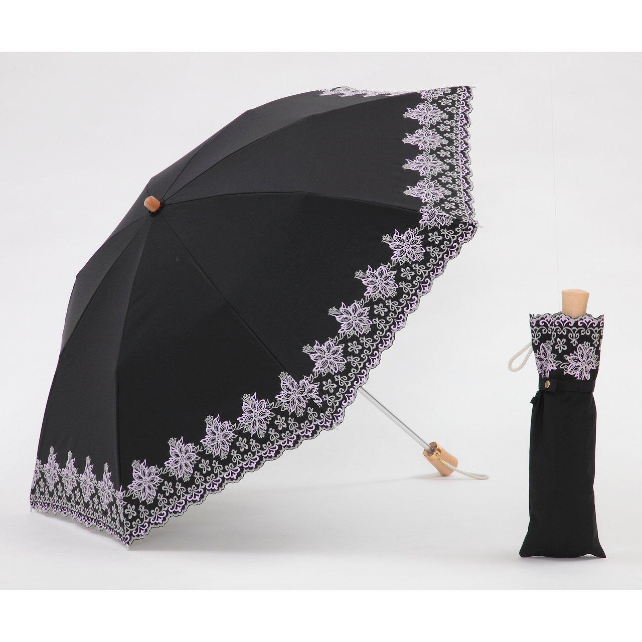 UVカット 晴雨兼用 遮光1級 折りたたみ傘 クールプラス 花柄刺繍(C) ブラック 日傘 【LIEBEN-1512】 B00C38RNH0