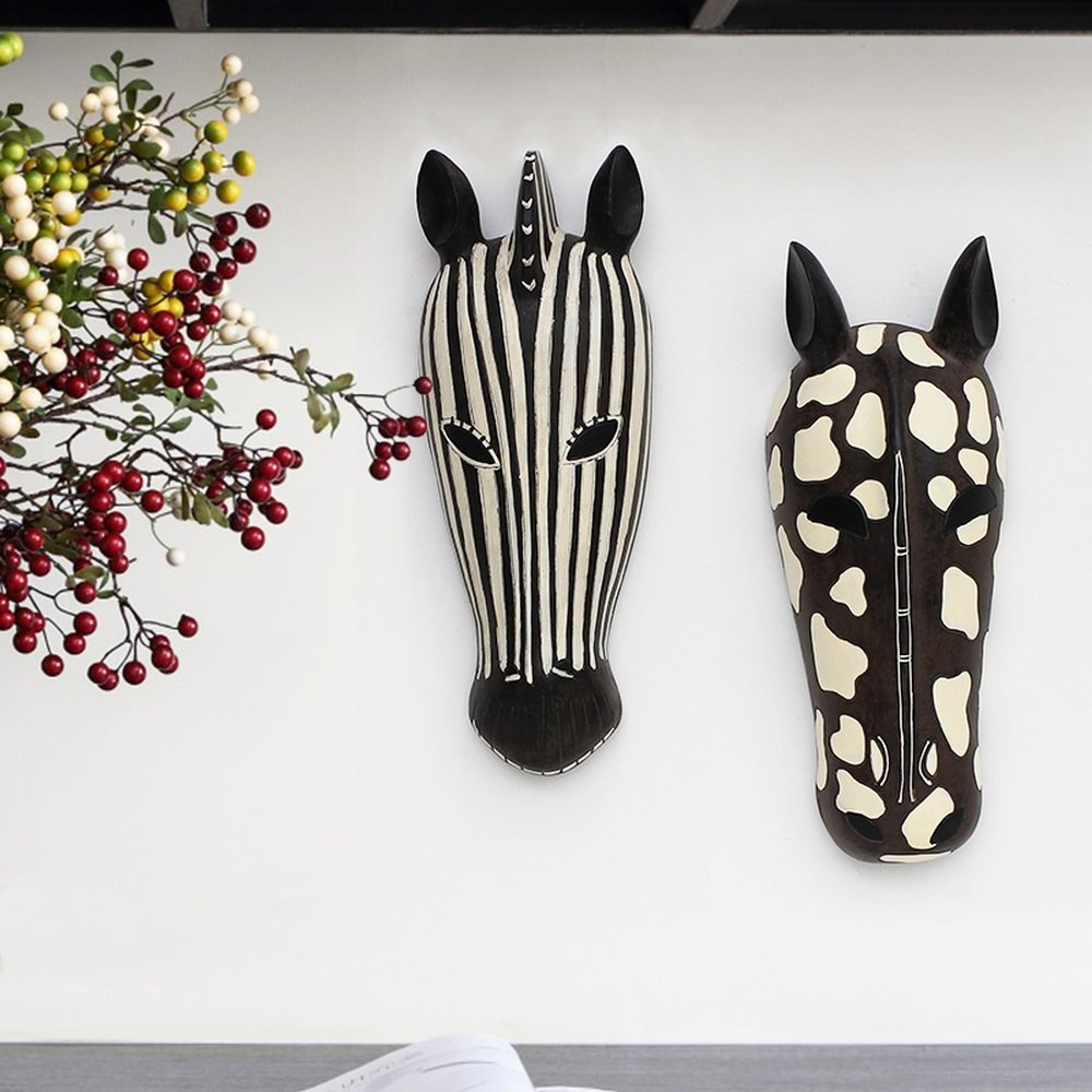 BWLZSP A PC Creative animal head wall decoration Nordic resin horse mural shop restaurant cafe wall ornaments bar decoration AP5101009 (Color : B) by BWLZSP