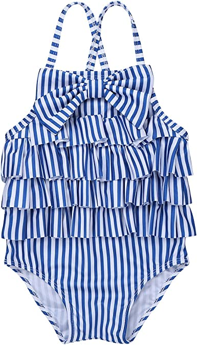 Baby Mädchen Kinder einteilig Badeanzug Polka Dots Schwimmanzug mit Rüschen Rock