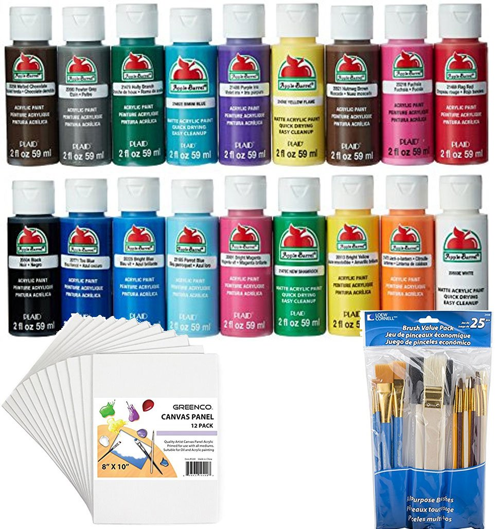 Bundle Includes 3 Items - Apple Barrel Acrylic Paint Set, 18 Piece (2-Oz), PROMOABI Best Selling Colors & Loew-Cornell 245B Brush 25 Pack and Greenco Professional Quality Canvas Panel 8x10 in-12 Pack by Apple Barrel and Loew-Cornell and Greenco