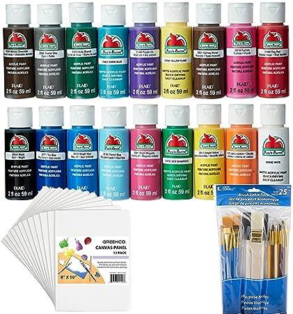 Bundle Includes 3 Items Apple Barrel Acrylic Paint Set 18 Piece 2 Oz Promoabi Best Selling Colors Loew Cornell 245b Brush 25 Pack And Greenco