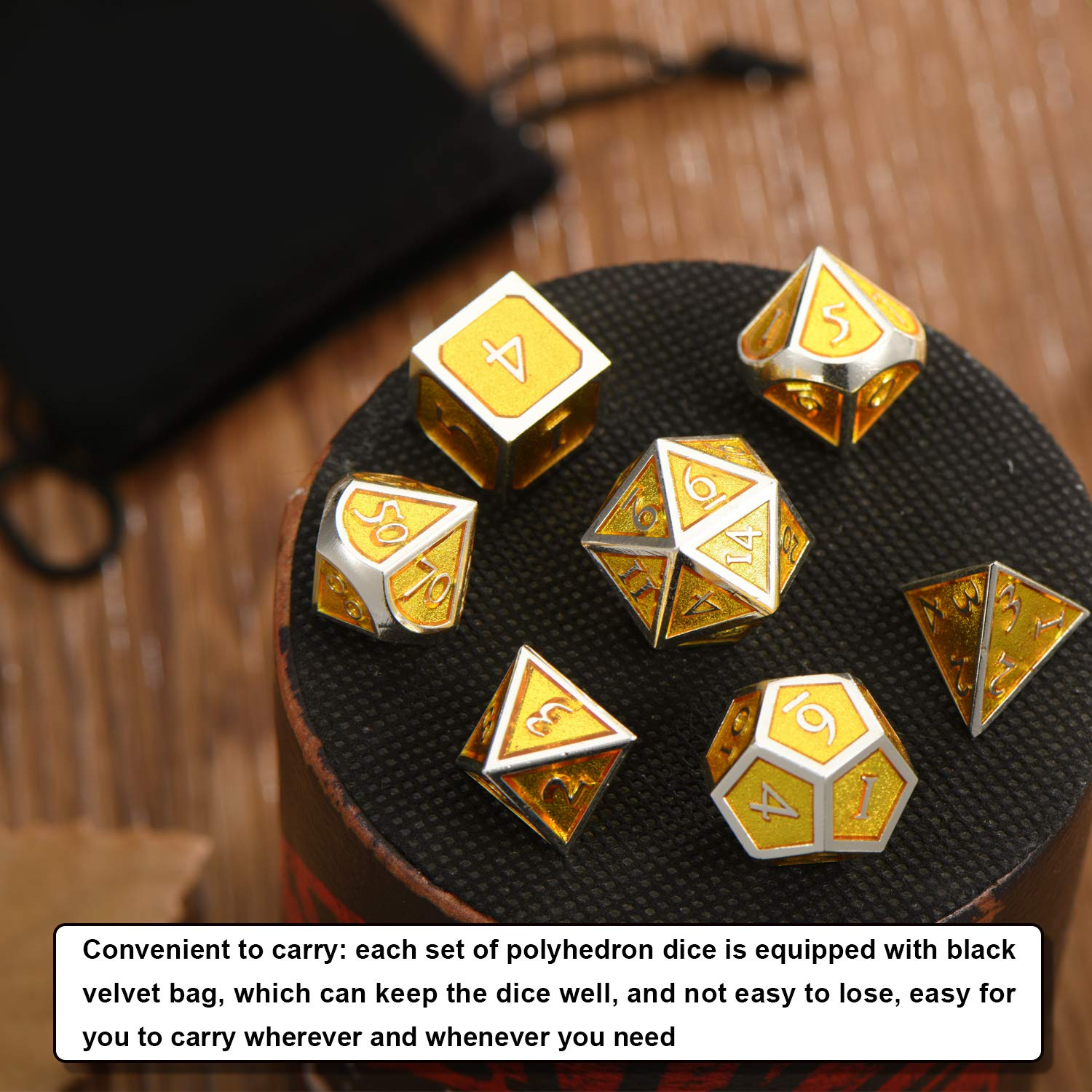 Black Edge Atrovirens Math Teaching 7 Pieces Metal Dices Set DND Game Polyhedral Solid Metal D/&D Dice Set with Storage Bag and Zinc Alloy with Enamel for Role Playing Game Dungeons and Dragons