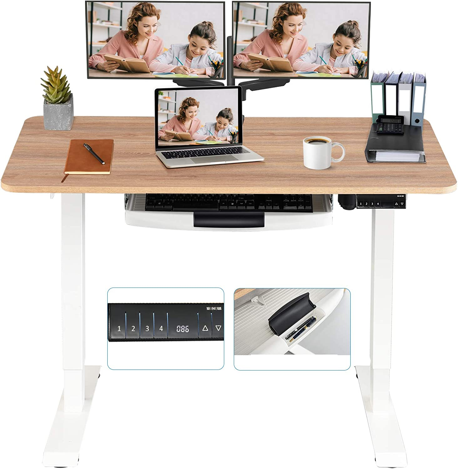 MONOMI Electric Height Adjustable Standing Desk, 48 x 24 inches Stand up Desk Workstation, Sit Stand Home Office Table with 4 Programmable Preset Controller (Oak Top/White Legs)