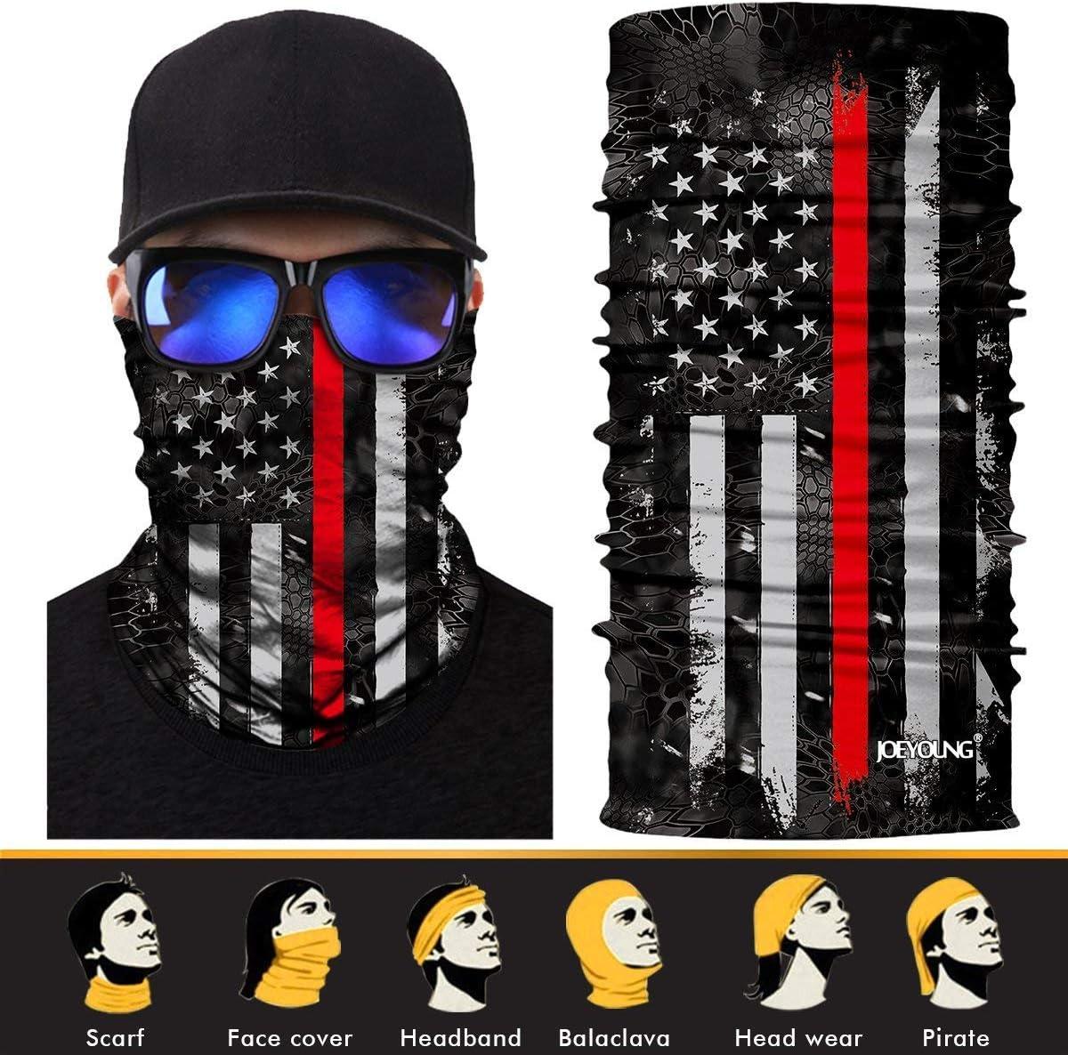 JOEYOUNG 3D Face Sun Mask, Neck Gaiter, Headwear, Magic Scarf, Balaclava, Bandana, Headband Fishing, Hunting, Yard Work, Running, Motorcycling, UV Protection, Great for Men & Women