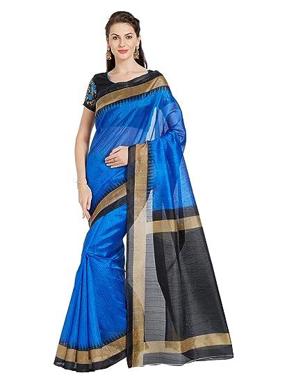 24c8d4d78c270b Florence Women s Bhagalpuri Silk Saree (FL-PB BLUE-New)  Amazon.in ...