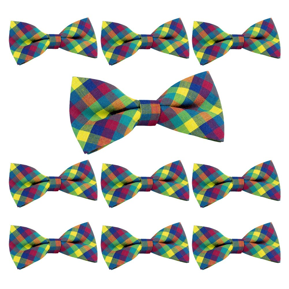 ST34 Mixed Lot 10pcs Set Cotton Plaid Tuxedo New Bow tie for BOYS-Various Colors