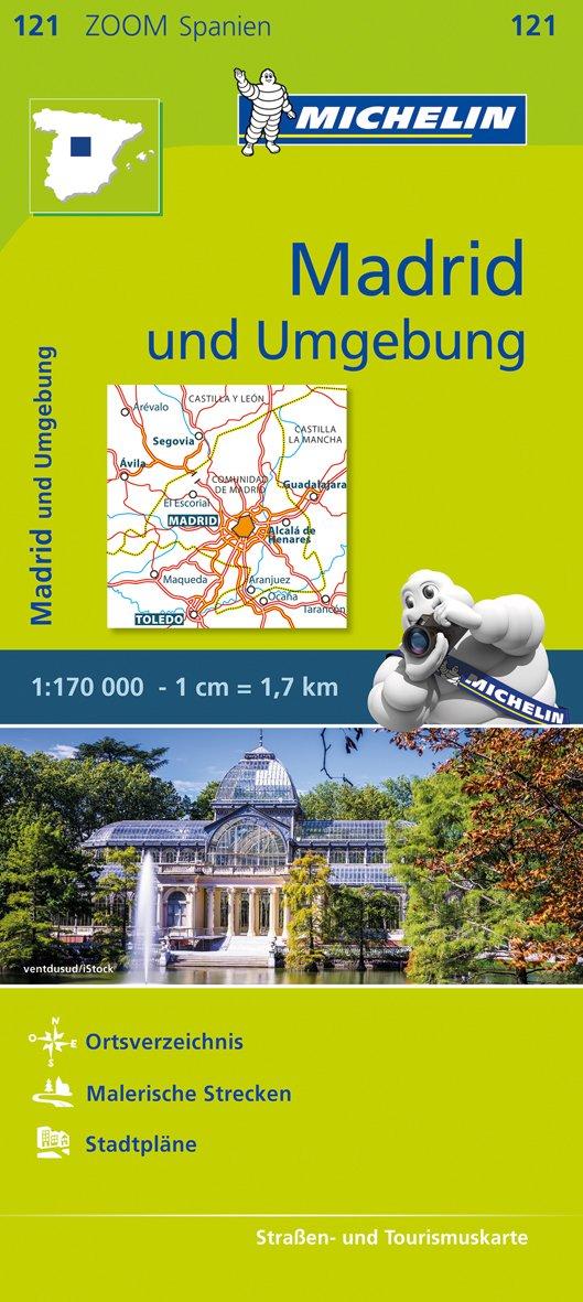 Michelin Madrid und Umgebung: Straßen- und Tourismuskarte 1:170.000 (MICHELIN Zoomkarten, Band 121)