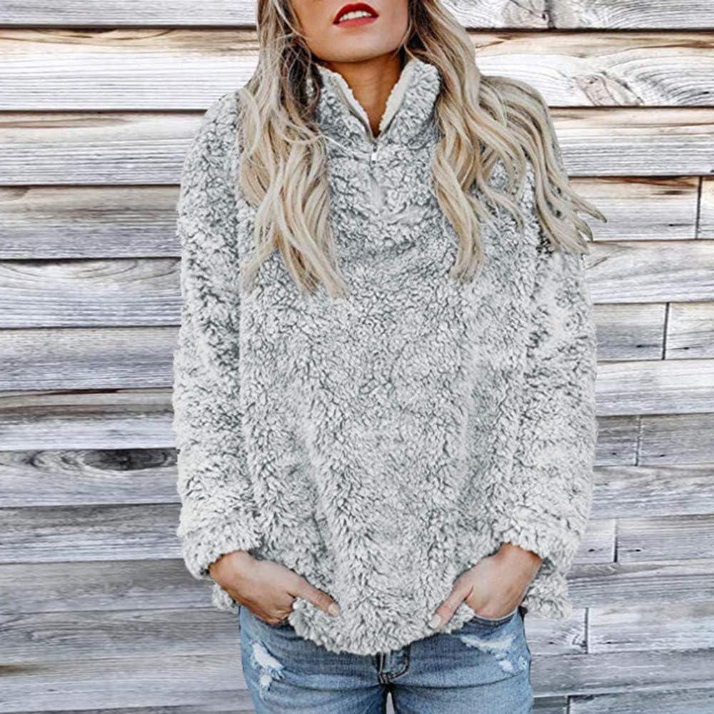 Wenyujh Damen Pullover Strickpullover Sweater Samt Warm Hohe Kragen Slim Fit Modern Elegant Herbst Winter