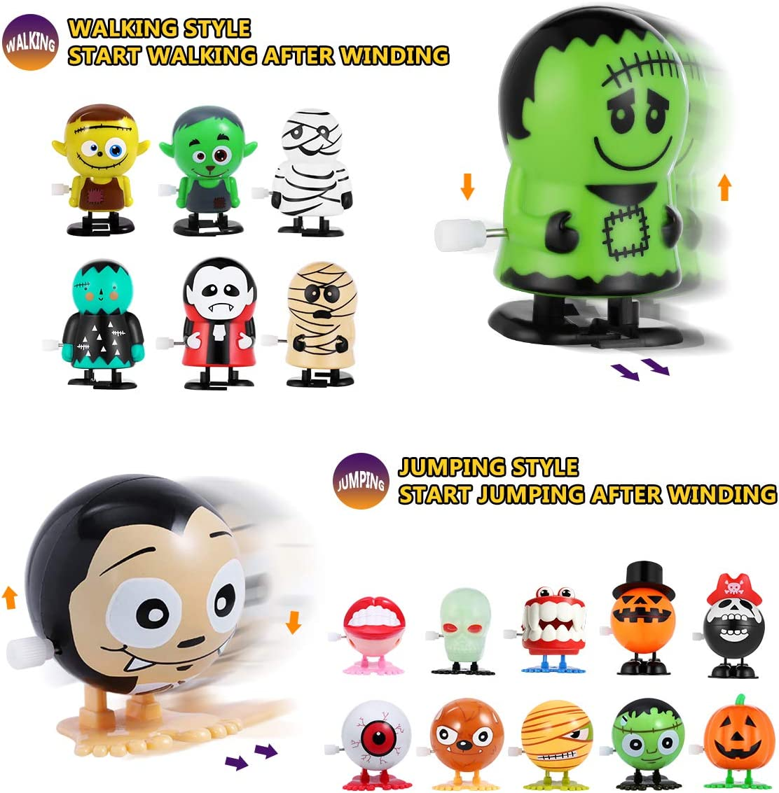 Wind Up Toys 20 Pcs Halloween Toys Assortments for Kids, Halloween Party Favors Supplies Goody Bag Fillers Stuffers