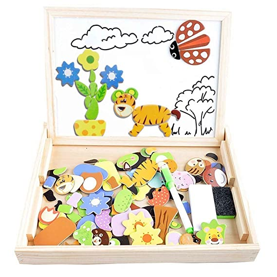 Magnetic Puzzles Kids Educational Wooden GamesIrady 100 Pieces Double Sided Drawing Board Animals