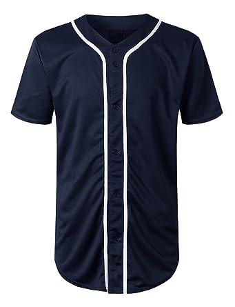27debd406 URBANCREWS Mens Hipster Hip Hop Basic Solid Baseball Jersey Shirt Navy, S
