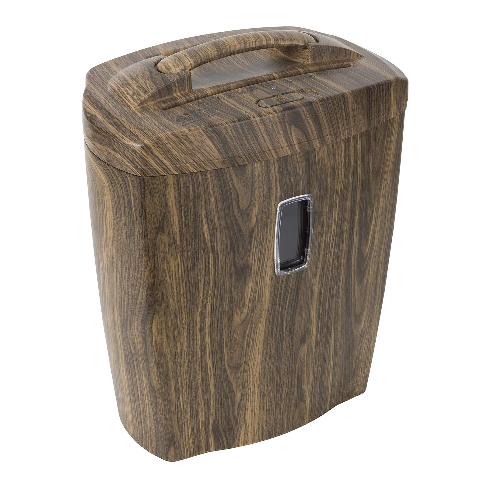 Shredder for Home or Office with Fashionable Wood Appearance: 10 Sheet, Cross Cut, 5.5 Gallon Waste Bucket, 2 Minute Run Time, Shreds Credit Cards, Clips and Staples, 5.5 Gallon Waste Bucket by Excello Global Products