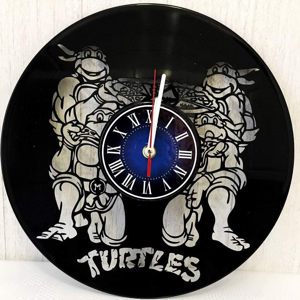 Teenage Mutant Ninja Turtles Wall Clock Made from 12 inches / 30 cm Vintage Vinyl Record   Ninja Turtles Gift for Men Boys Husband   Teenage Mutant Ninja Turtles Merchandise  