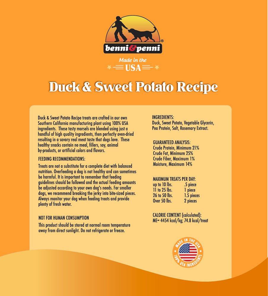 Benni & Penni USA Raised Duck and Sweet Potato Soft Chew Jerky 6 oz. by Benni and Penni (Image #2)