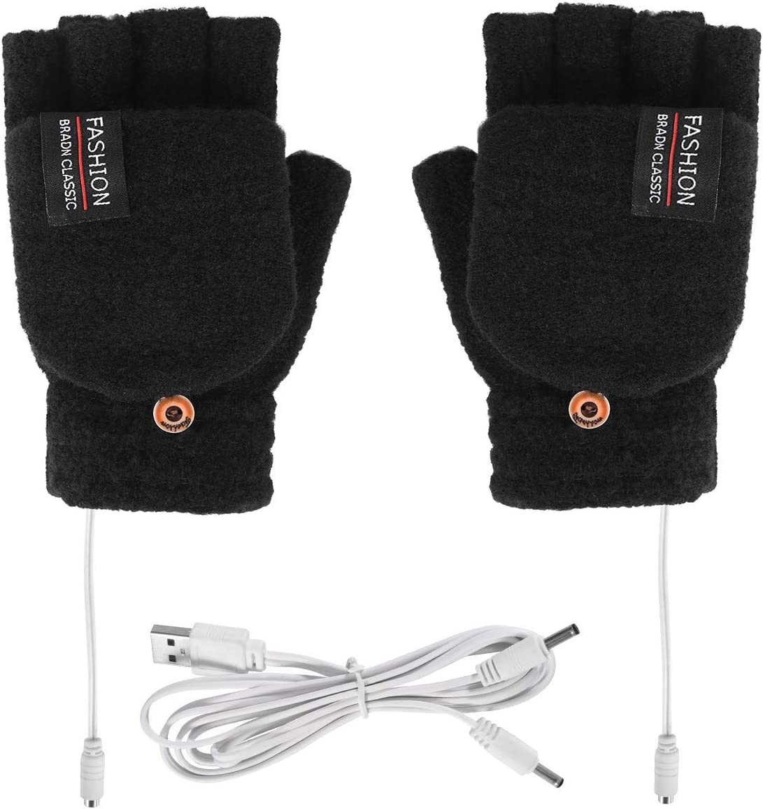 Unisex Women Men USB Heated Gloves Electric Heating Gloves Mitten Winter Warmer Rechargeable Laptop Gloves for Computer Typing Arthritis Hand, Knitting Full& Half Fingerless, Washable (Black)