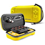 tomtoc Carrying Case for Nintendo Switch Lite, Portable Travel Storage Protective Case with 24 Game Cartridges and Original Patent for Switch Lite Console and Accessories, Yellow