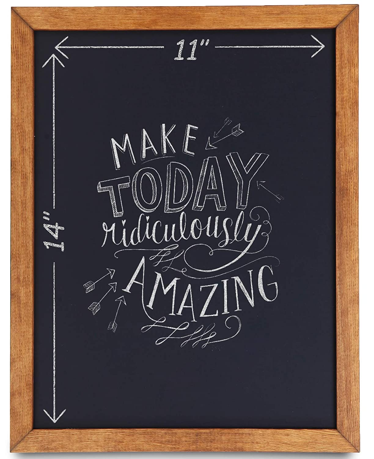 Chalkboard Sign [11 x 14] - Premium Rustic Chalk Board, Pine Wood Framed Chalkboard, Regular or Liquid Chalk Markers, Kitchen Countertop Sign, Decorations for Weddings Birthdays Receptions