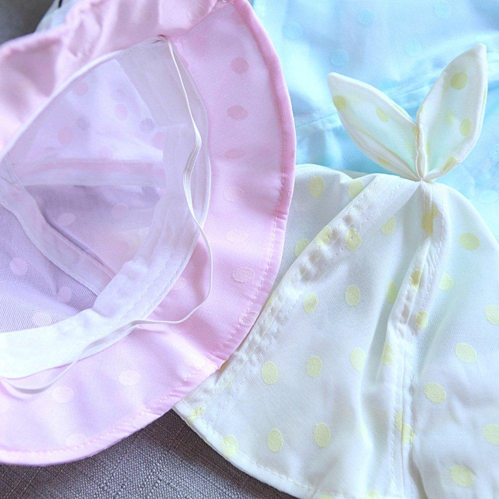 bjduck99 Infant Toddler Baby Girls Polka Dot Rabbit Ear Bucket Hats Summer Beach Cap Gift